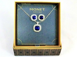 Vintage Monet earrings & necklace costume jewelry box set new & unused - $41.94
