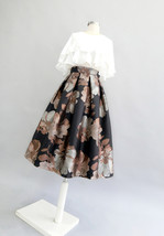 Black Midi Party Skirt with Pockets A-line Floral Black Party Skirt Outfit image 9