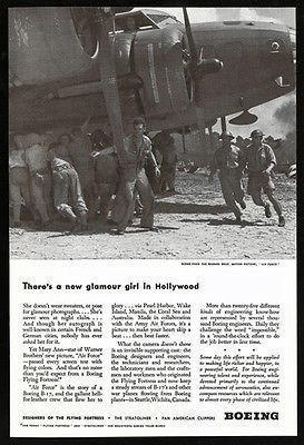 "Primary image for Boeing Flying Fortress B-17 Hollywood Movie Set ""Air Force"" 1943 Photo Ad"