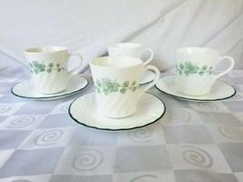 Corelle Callaway Green Ivy Swirl Cups Saucers Set of 4 CorningWare USA - $31.30