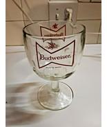 Vintage 1970's Budweiser Beer Goblet Heavy Glass Footed Thumbprint Beer Mug - $16.82