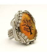 Wire Wrapped Orange Tree Dichroic Glass Sterlin... - $200.00