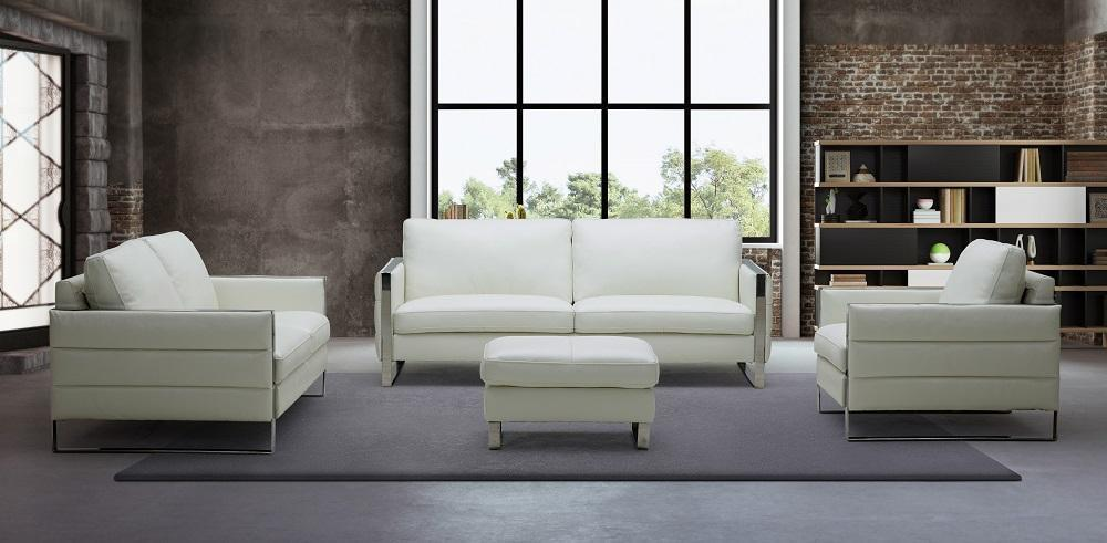 J&M Constantin Contemporary White Italian Leather Sofa Set w/Ottoman  4 Pcs