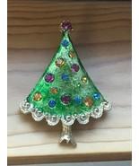 Vintage Green Enamel w Embedded Colorful Rhinestones Goldtone Christmas ... - $14.89