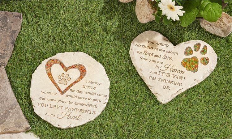 Pet Memorial Stepping Stone Polystone & Mosaic Glass 2 Choices