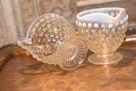 Moonstone HOBNAIL Cream Creamer & Sugar Bowl WHITE ART GLASS Vintage FENTON image 5