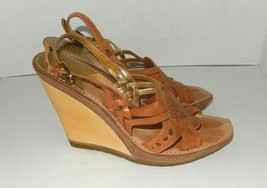 Cole Haan NikeAir Strappy Natural Woven Leather Wedge Sandals Women's 7 B - $26.99