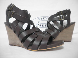 Steve Madden Size 10 M Venis Chocolate Leather Open Toe Wedges New Women... - $88.11