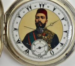 Ottoman Silver Longines pocket watch,portrait of Egypt Governor Tewfik Pasha - $1,330.00