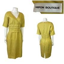 1980s Linen Dress / Designer Albert Nipon Chartreuse  Wiggle Dress S/M - $46.50