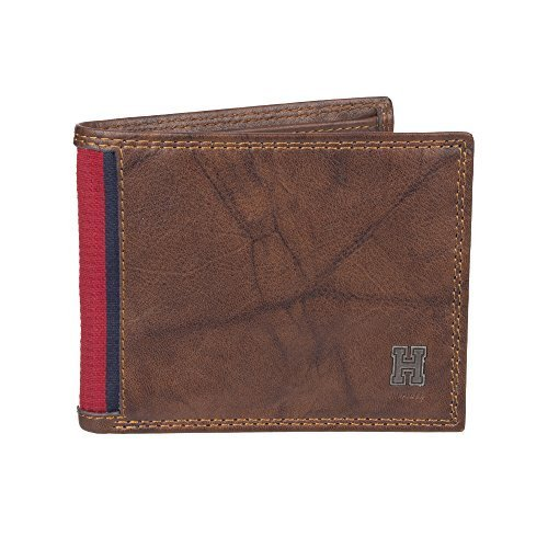 Tommy Hilfiger Men's RFID Blocking Leather Extra Capacity Traveler Wallet -saddl