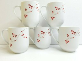 """5 Mikasa Gourmet Basics Red Berries 4"""" White Porcelain Drink Coffee Cup ... - $29.57"""