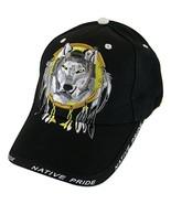 Native Pride Wolf Men's Adjustable Baseball Cap with Border (Black) - $11.95