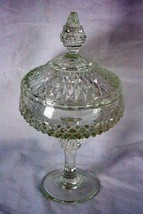"Indiana Glass 1990 Diamond Point Clear Compote With Lid 12 1/4"" - $13.85"