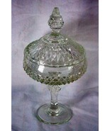 """Indiana Glass 1990 Diamond Point Clear Compote With Lid 12 1/4"""" - $12.59"""