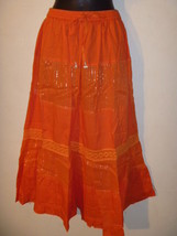 Skirt Fit M L XL 1X Peasant Style Silver Thread Orange Mid-Calf 354 NWT - $14.84