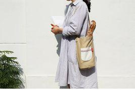 Romane Baguette Tote Bag Cotton Canvas Eco reusable Daily Shopper Bag (Beige) image 3