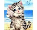 Paint By Numbers Adults kids Cats On Beach DIY Painting Kit 40x50CM Canvas