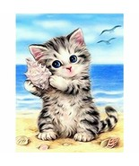 Paint By Numbers Adults kids Cats On Beach DIY Painting Kit 40x50CM Canvas - $13.46 - $24.18