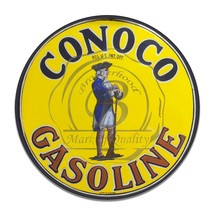 "Conoco Gasoline Revolutionary War Soldier Reproduction 12"" Circle Aluminum Sign - $16.09"