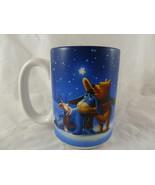 Vintage Disney MUG Winnie The Pooh Piglet Eeyore Winter Snow Stars Beaut... - $10.88