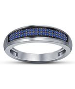 Mens Wedding Anniversary Ring Band Blue Sapphire 14k White Gold Over 925... - $93.73