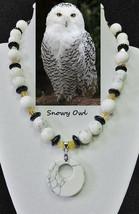 Snowy Owl artisan handcrafted genuine shell, resin & artglass bead neckl... - $72.00