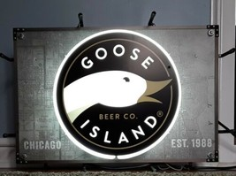 GOOSE ISLAND BEER CO CHICAGO IL EST 1988 NEON LIT CITY MAP BACKGROUND - $199.50