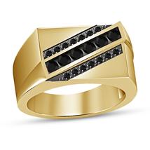 14k Yellow Gold Plated 925 Silver Round Black Diamond Men's Engagement B... - $79.99