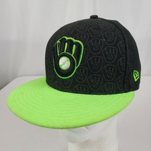 Milwaukee Brewers New Era 59Fifty Fitted Cap Hat 7 1/8 Lime Green Black Yelich - £20.06 GBP