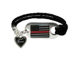 Firefighter Fireman Appreciation Thin Red Line Black Leather Bracelet Jewelry - $12.65