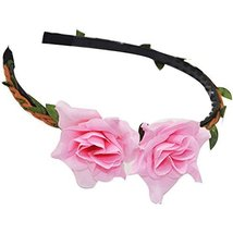 3 Pcs Beach Pink Lily Woven Cloth Hair Bands Headdress Hair Accessories