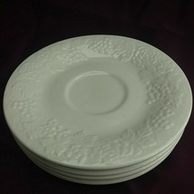 """4 Gibson Four Seasons 6.5"""" Bread Plates/ Saucer White Grapes Flowers Fruit (4B3) - $14.99"""