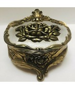 Vintage 1930s Art Nouveau Gold Jewelry Casket Box Repousse Roses Lined in Red - $68.26