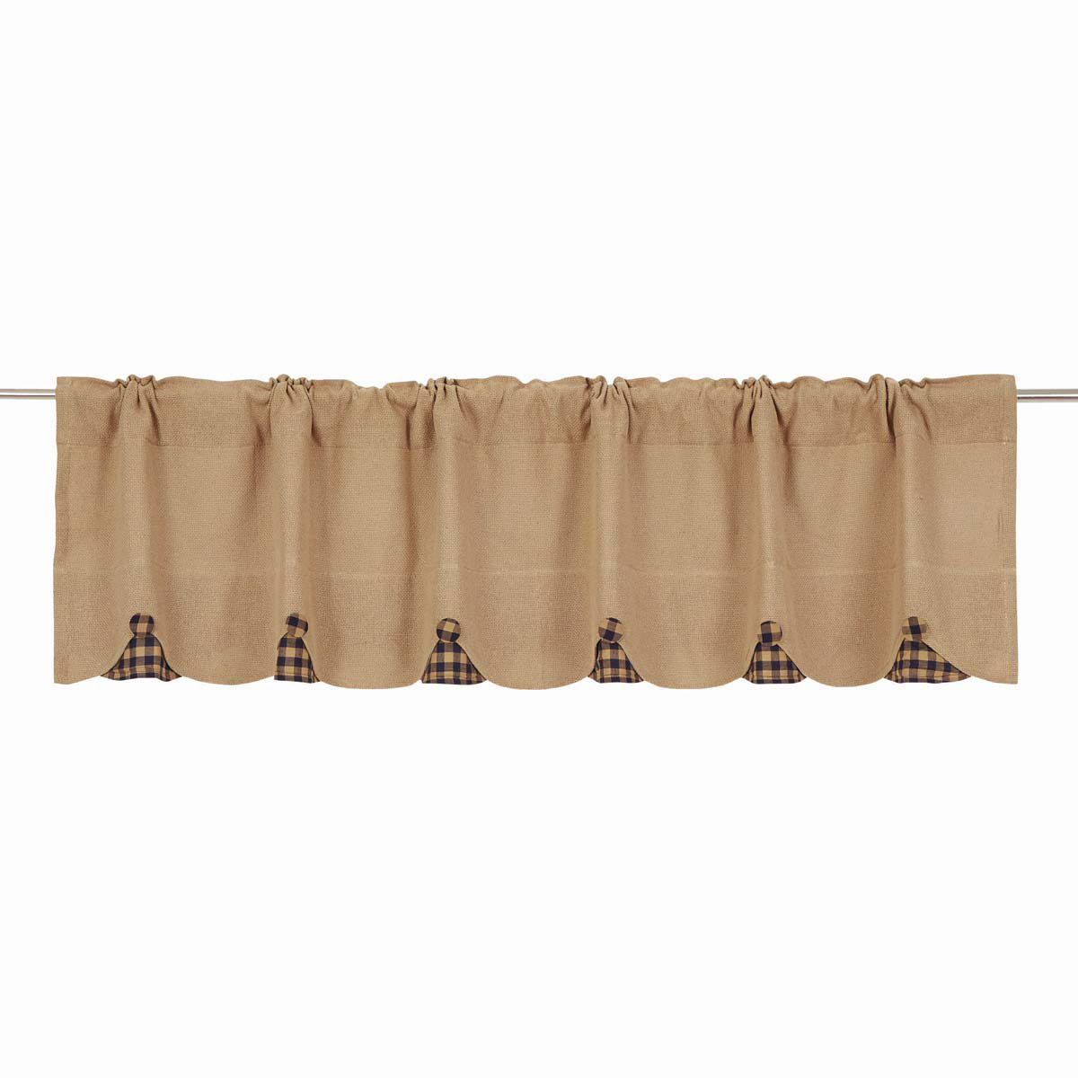 BURLAP NATURAL Valance w/Navy Check - 16x72 - Country Farmhouse - VHC Brands