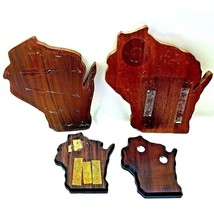 4 Wood State Of Wisconsin Shaped Wall Hang Plaque Award Lot Art Craft Brown - $12.03