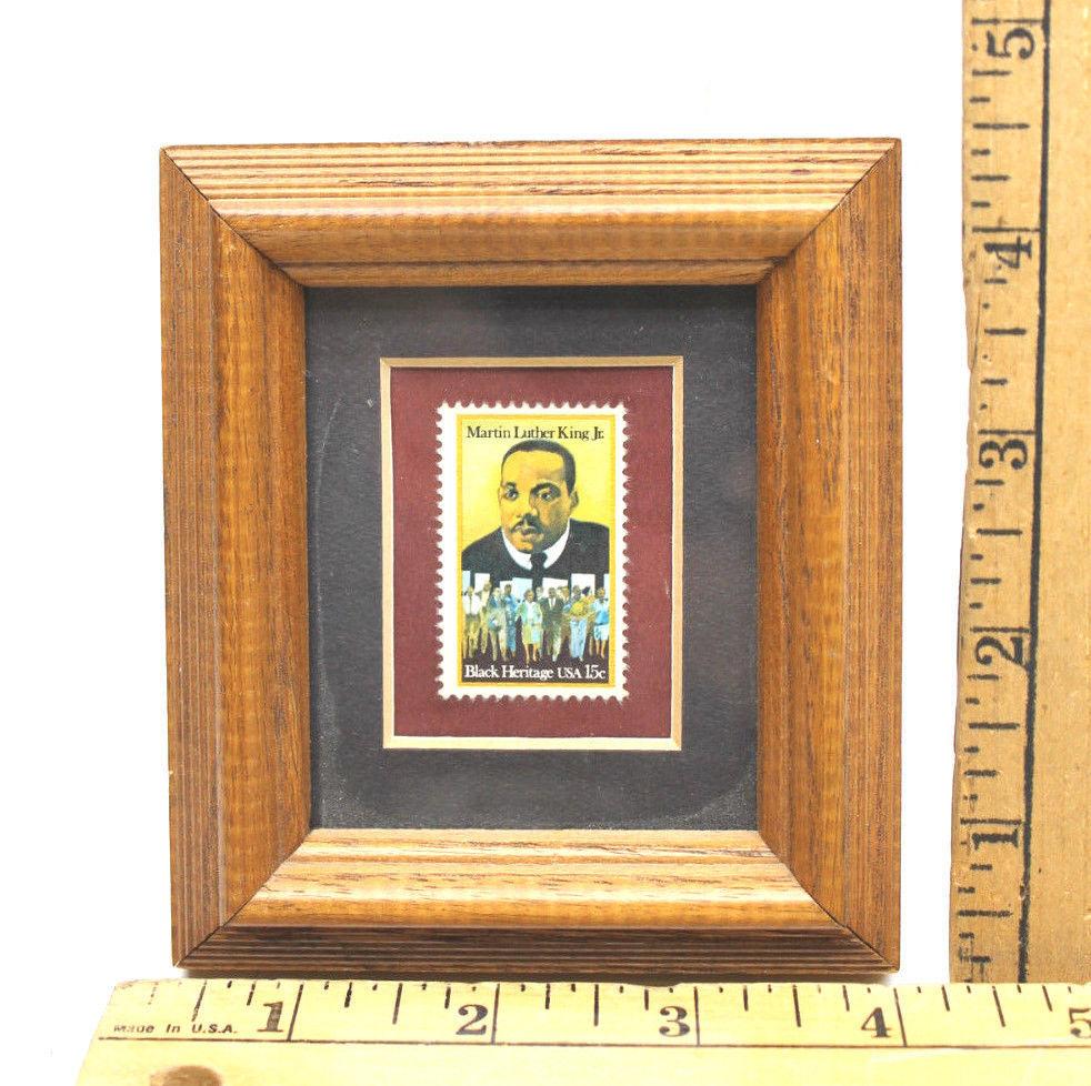 Wood Framed 1979 Martin Luther King Jr 15 Cent US Postage Stamp Mint Condition