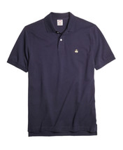 Brooks Brothers Mens Navy Blue Gold Performance Polo Shirt Medium M $70 3686-3 - $46.27