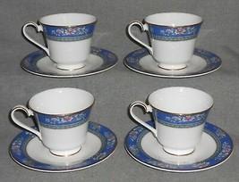 Set (4) 1993 Royal Doulton Bone China Austin Pattern Cups & Saucers England - $49.49
