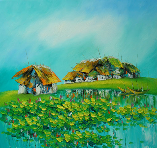 Water Lily Pond, 24x28 Vietnamese hand painted original oil painting