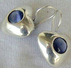 gray -blue hearts earrings