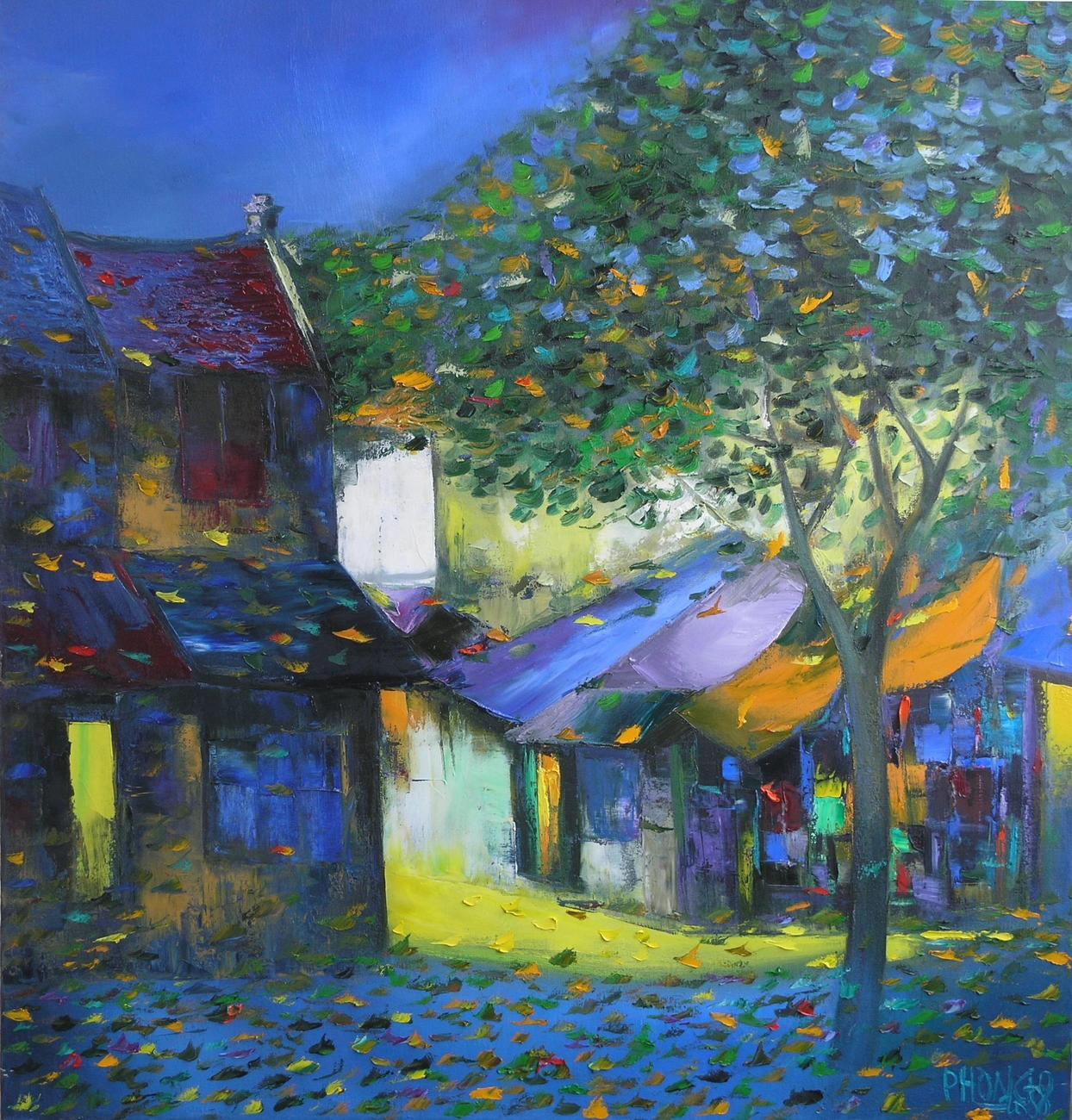 "Alley Shadows. 30:""x32"" oil painting on canvas"