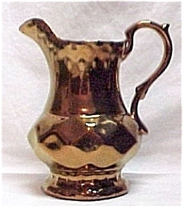 English Copper Lustre Creamer Pitcher Art Deco Vintage