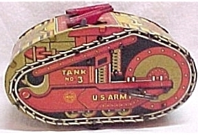 Marx  U.S. Army Tank #3 Windup Wind Up Toy Vintage