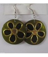 Shell Fashion Earrings with Hand Painted Flower - $16.00