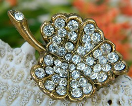 Vintage Rhinestone Leaf Brooch Pin Clear Stones Gold Tone - $19.95
