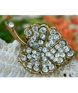 Vintage Rhinestone Leaf Brooch Pin Clear Stones... - $19.95