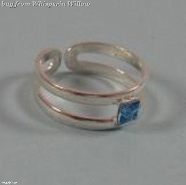 Blue crystal toe ring 1