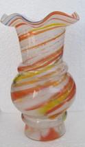 """Murano Venetian Style """"Vase"""" Muti-Colored Swirl Style Glass With Ruffled... - $62.99"""