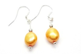 Yellow Pearl Earrings, sterling silver Pearl Drop Earrings, Pearl silver... - $7.50